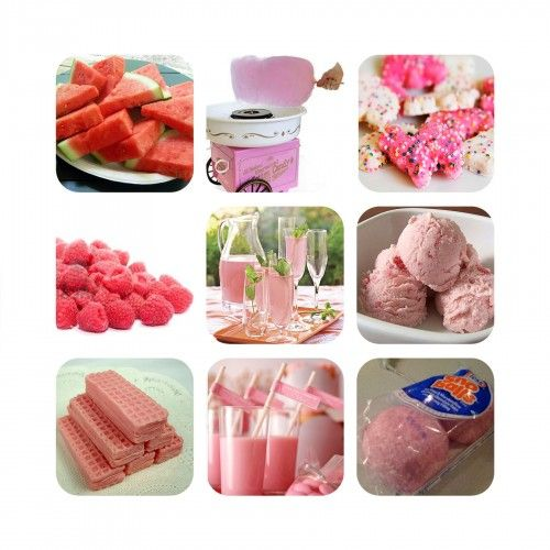 Pink foods/drinks.