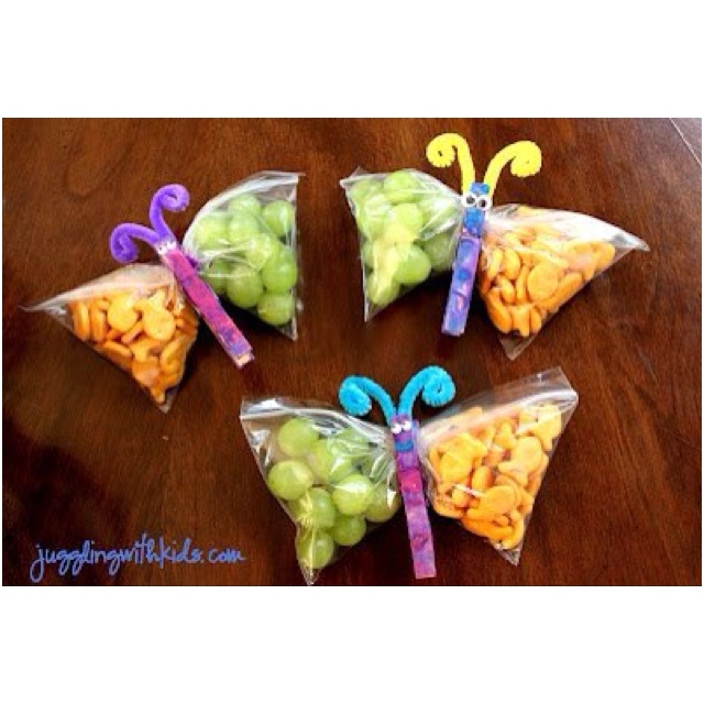 These butterfly clips bring children's favorite snacks to the next level. Fun for an animal or spring themed party!