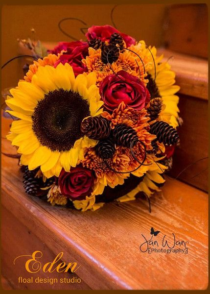 Rustic Brown Orange Red Yellow Bouquet Fall Rose Sunflower Wedding Flowers Photos & Pictures - WeddingWire.com
