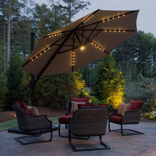 11 Led Solar Offset Umbrella In Taupe By Seasons Sentry
