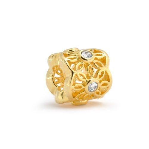 Bling Jewelry 925 Sterling Gold Vermeil Filigree CZ Flower Bead Fits Pandora