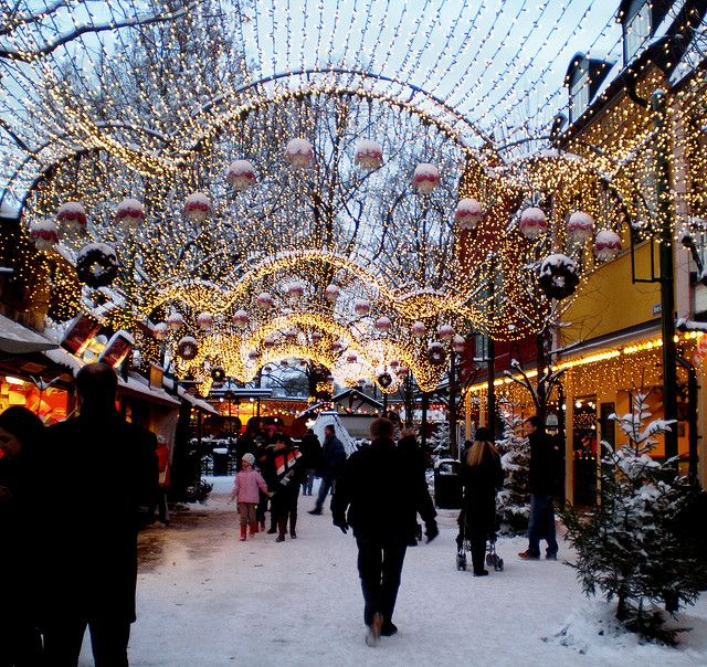 Christmas market in Stockholm Sweden.