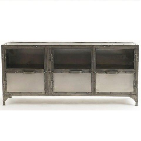 Antique Finish Iron Element Tv Media Stand Furniture On Sale At Zin Home.  Hand Crafted From Iron In A Antique Nickel Finish. This Iron Element Media  Chest/ ...