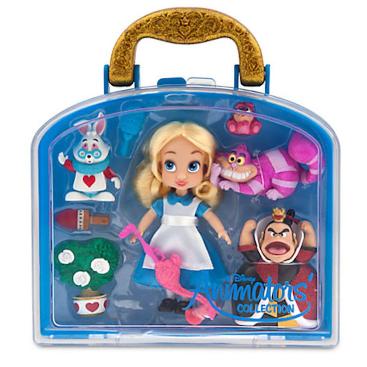 "disney alice in wonderland mini doll play set 5"" animator's collection new case"