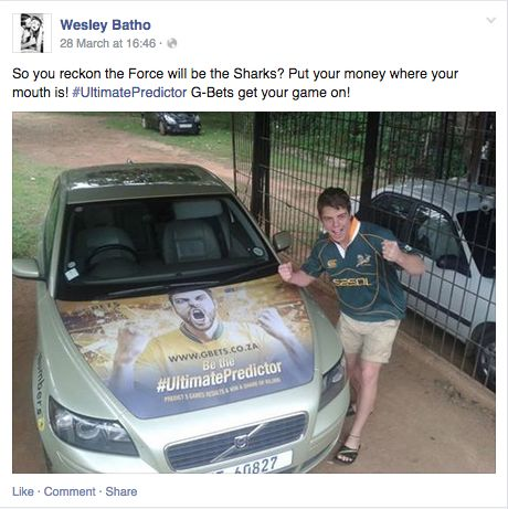 Facebook screenshot from one of our G-Bet #UltimatePredictor drivers.