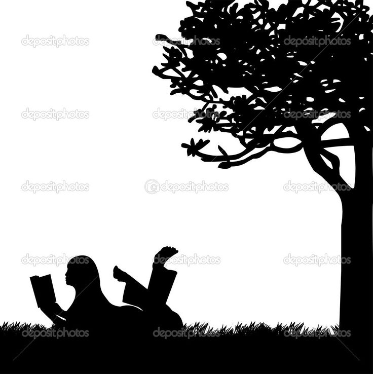 Girl Silhouette | Silhouette of girl reading a book under the tree in spring — Stock ...