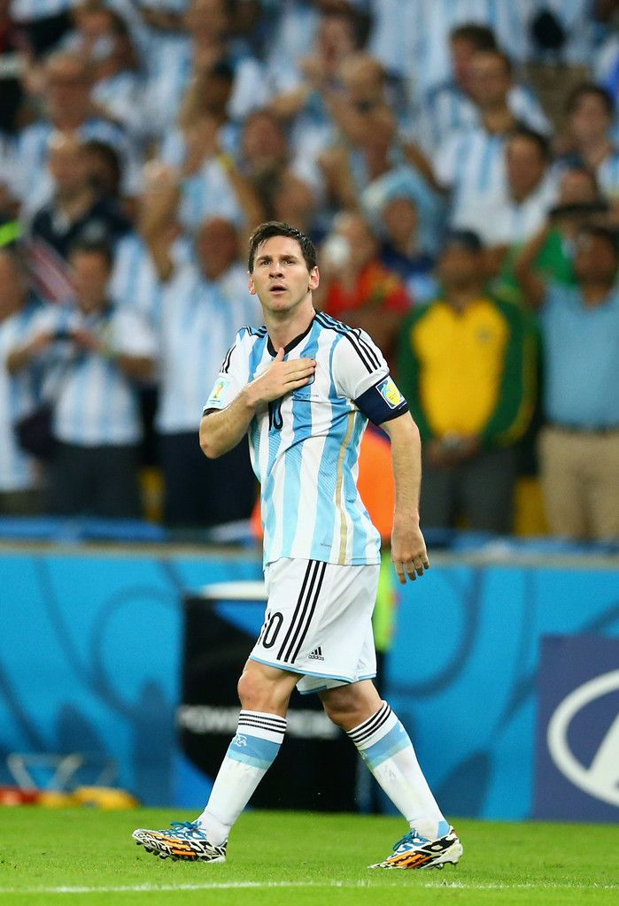Lionel Messi of Argentina acknowledges the fans after defeating Bosnia and Herzegovina 2-1 in the 2014 FIFA World Cup Brazil Group F match b...