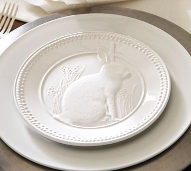 embossed bunny plate