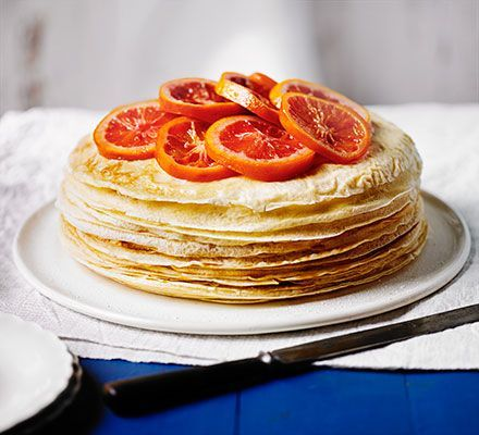 Blood oranges come into season during the winter months, treat yourself to citrussy orange pancakes, layered with orange custard and topped with the caramelised fruit
