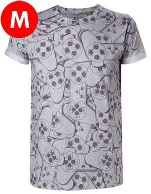 T-Shirt PlayStation Controller - Esclusiva GameStop T-Shirt grigia PlayStation, con stampa ripetuta per tutta la maglietta. Materiale: 100% cotone.
