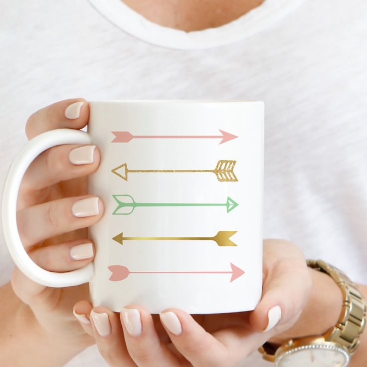 Arrow Coffee Mug This ceramic coffee mug is a perfect gift for a friend or yourself! - 11oz Ceramic Coffee Mug - image on both side - dishwasher safe - microwave safe