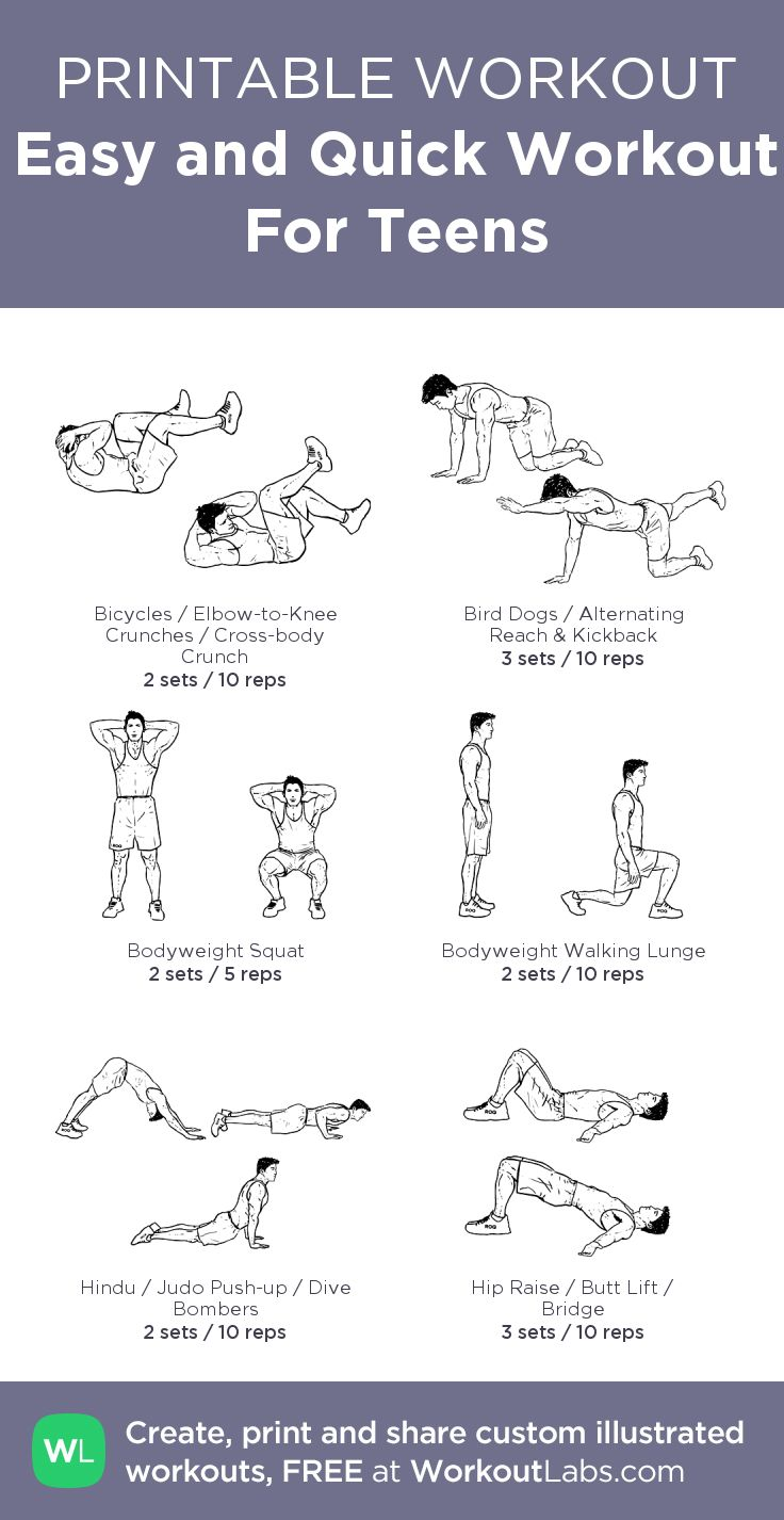 Easy and Quick Workout For Teens – my custom workout ...