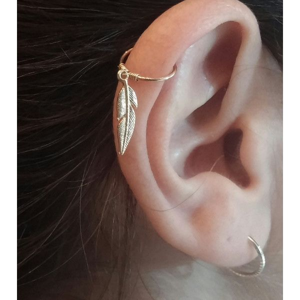 Helix Earring, Helix Ring, Feather Helix Ring, Helix Hoop, cartilage... (14 CAD) ❤ liked on Polyvore featuring jewelry, earrings, feather jewelry, earrings jewellery, hoop earrings, earring jewelry and feather earrings