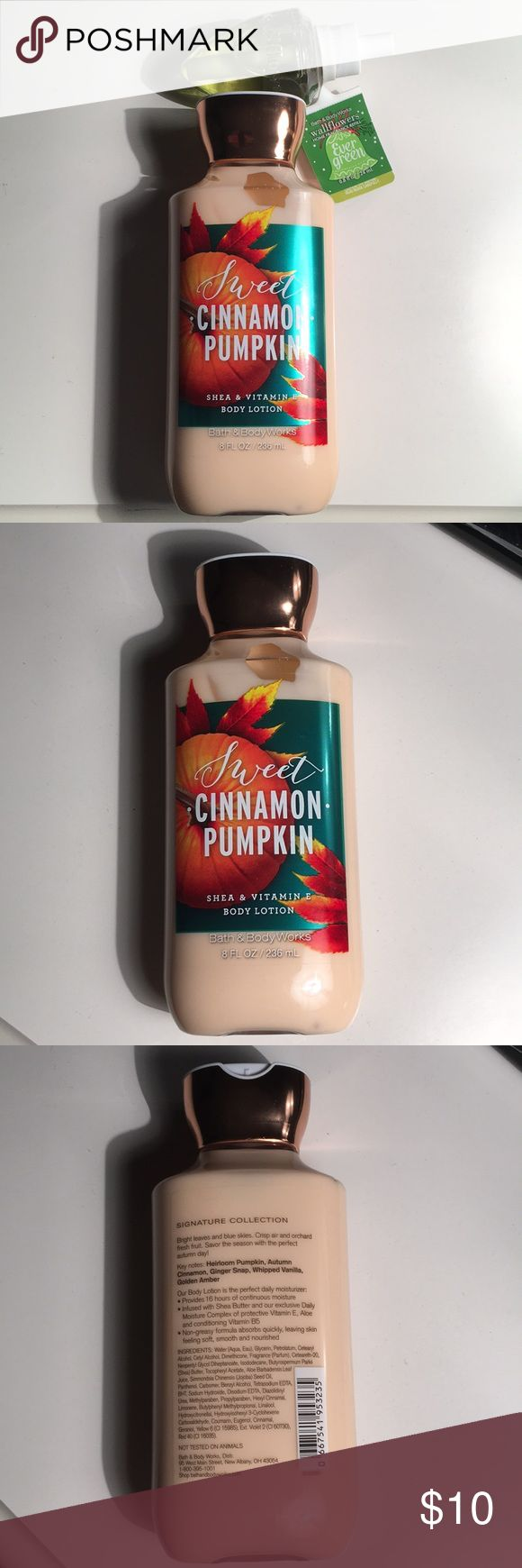 💥SALE !! Bath & Body Works Holiday Bundle🍁🎄 Brand new, unopened, still in wrapper.  Bath & Body Works Sweet Cinnamon Pumpkin 8oz lotion & Evergreen Wallflower .8oz refill bulb. Lotion scent is heirloom pumpkin, autumn cinnamon, ginger snap, whipped vanilla & golden amber. 16 hour continuous moisture, perfect for a daily lotion, contains shea butter, vitamin E, aloe & vitamin B5. Non greasy, absorbs quickly & leaves skin soft & smooth. The wallflower scent is crisp white fir needles…