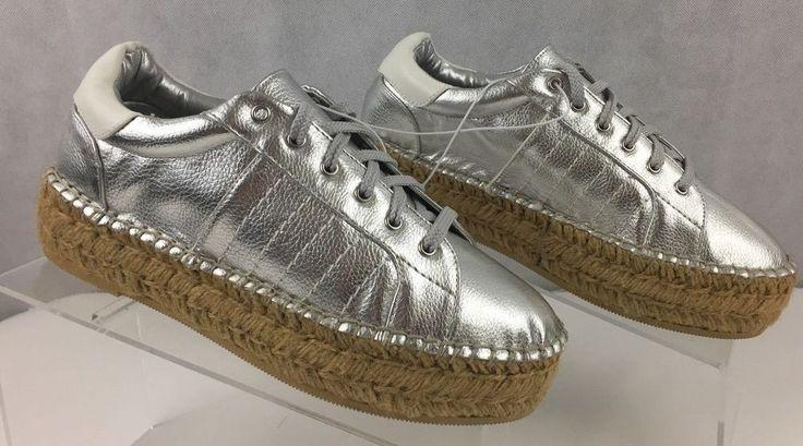 STEVEN by Steve Madden Parade Wedged Silver Espadrille Sneaker Womens Size 8 B  #STEVENbySteveMadden #Espadrilles