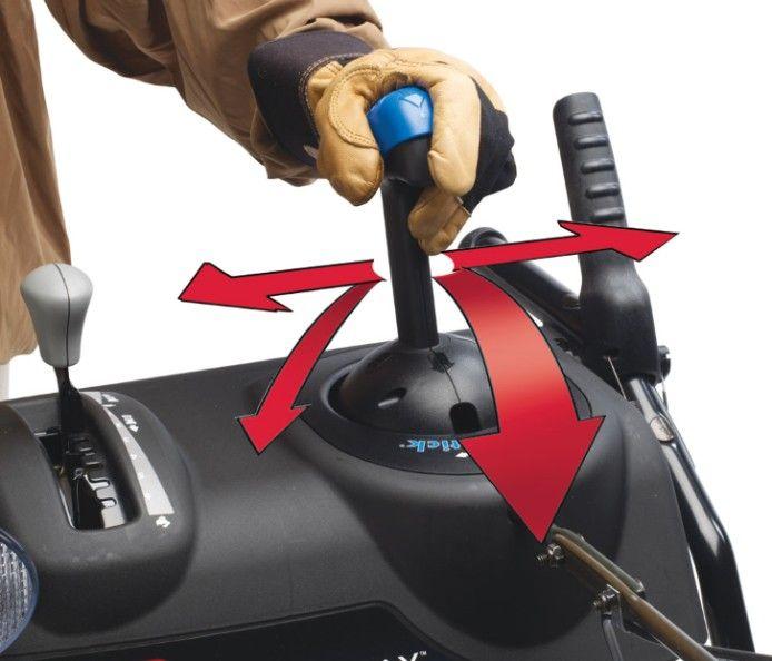 Camino di scarico Quick Stick® negli spazzaneve TORO PowerMax- Per modificare in modo rapido e semplice la direzione e l'angolo di getto del camino con un unico comando integrato.