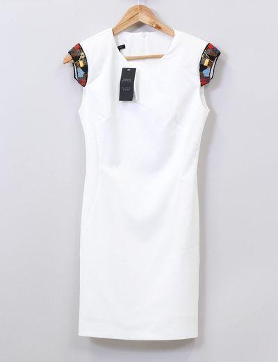 Vestido blanco detalle étnico Mango
