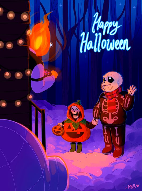 UNDERTALE Babybones Sans and Papyrus at Grillby's on Halloween