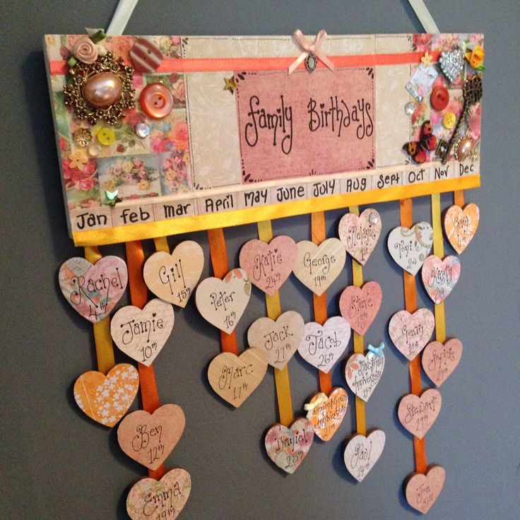 Handmade Family Birthday Calender £25 plus 10 hearts then 25p per additional heart