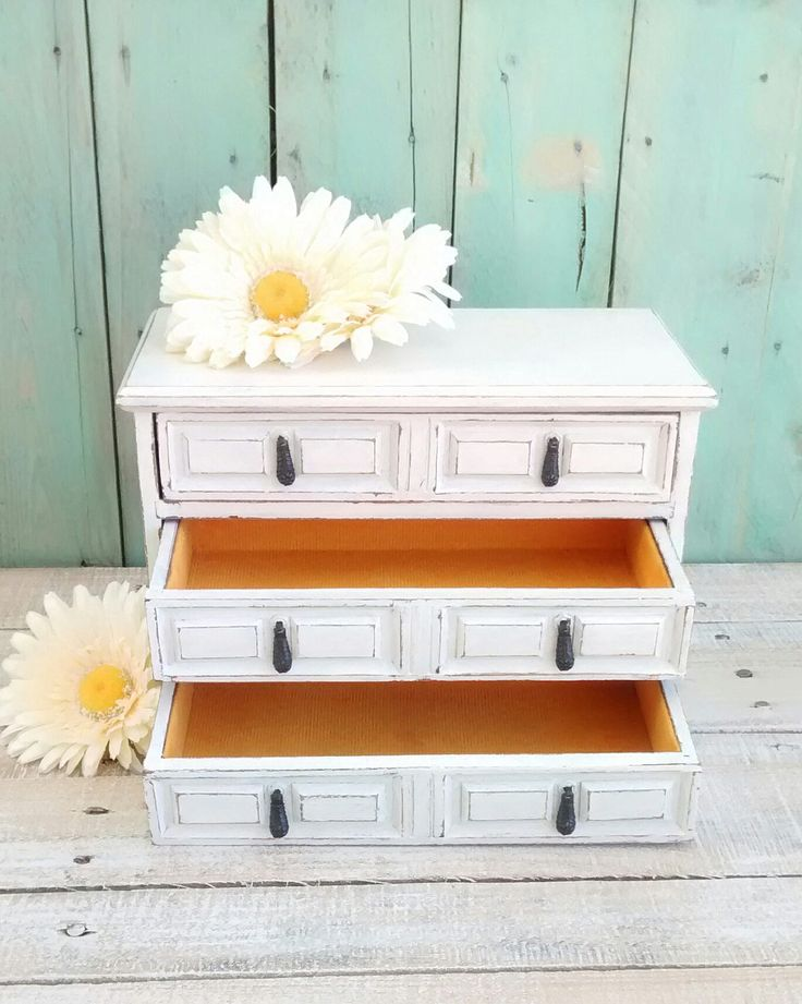 Shabby Chic Distressed Jewelry Box Painted Antique White by ClassyKassie on Etsy