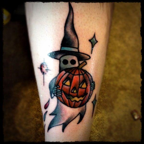 Hat With Pumpkin Halloween Tattoo On Leg