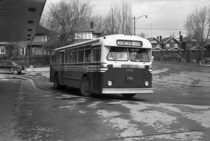 Toronto Transit Commission, bus #1781, at former Hollinger Bus Lines terminal, Danforth Avenue, north side, between Coxwell & Woodington Avenues, 1955