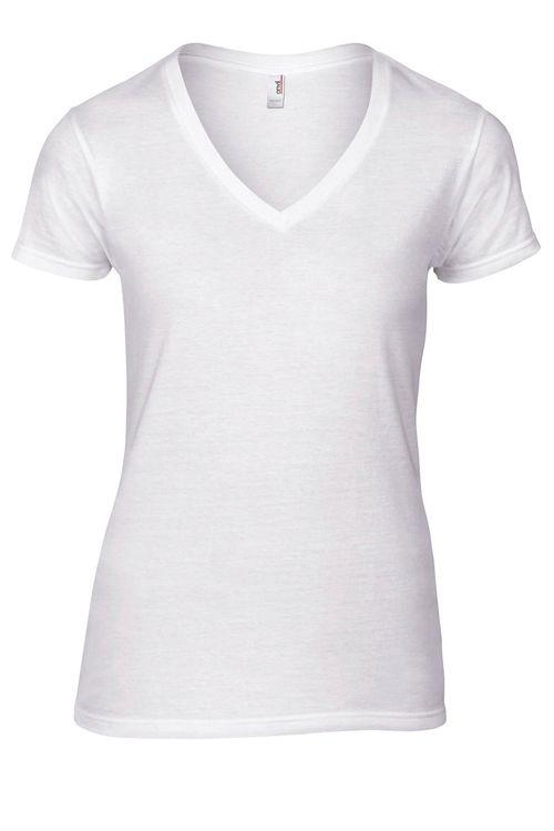 Tricou damă alb V-decolteu Fashion Basic, marca Anvil, din din 100% bumbac ring-spun prespălat #tricouri #personalizate #albe #promotionale #dame