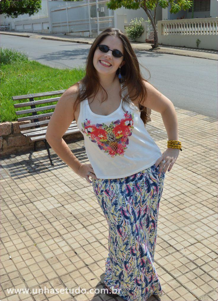 "Saia da Hering e blusinha da Marisa. Uma ""semi cropped""..rs... Gostei deste look!!!"