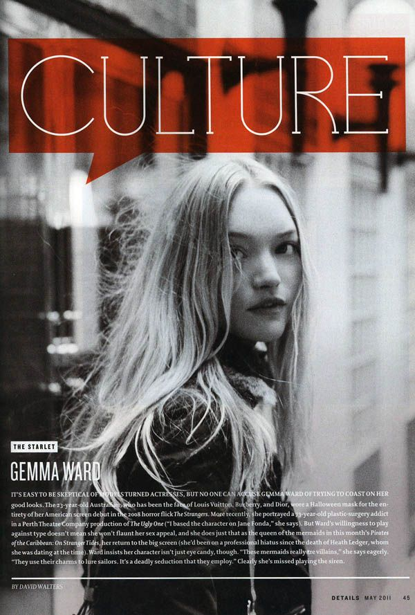 After snapping Gemma Ward's photo for a recent Harper's Bazaar Australia feature, Peter Ash Lee captures the Aussie beauty for the latest issue of Details where she talks to the men's magazine about her work in The Pirates of the Caribbean: On Stranger Tides.