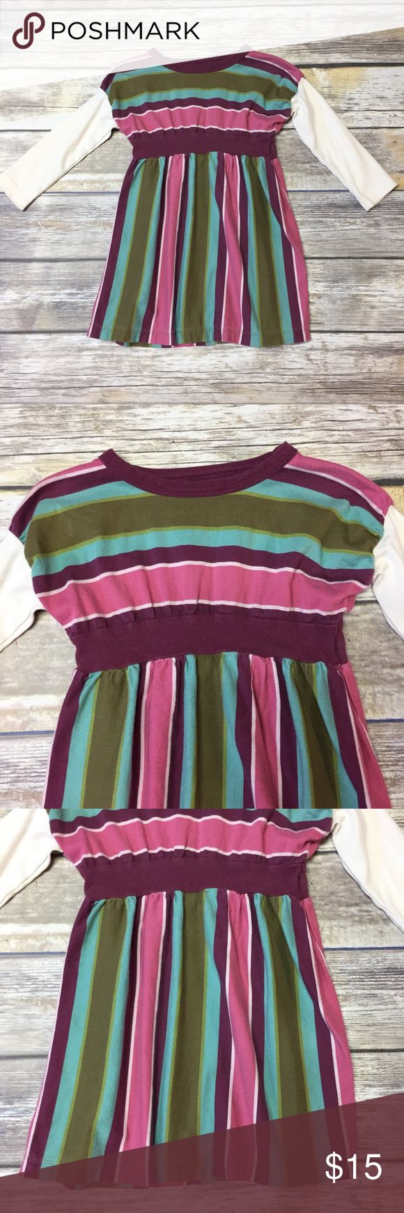 Tea Collection Striped Dress Pink, burgundy and green striped dress with white long sleeves. VGUC Tea Collection Dresses