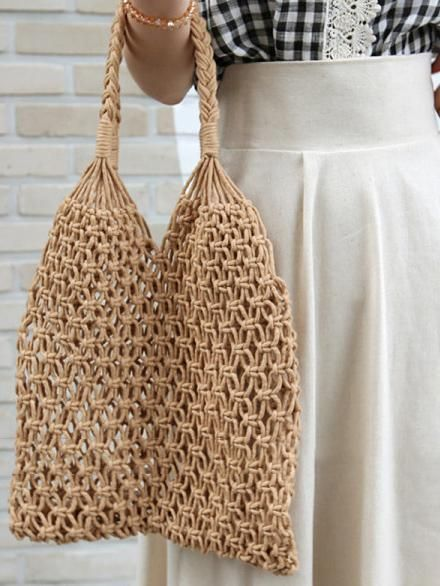3 Color Handmade Crochet String Bag