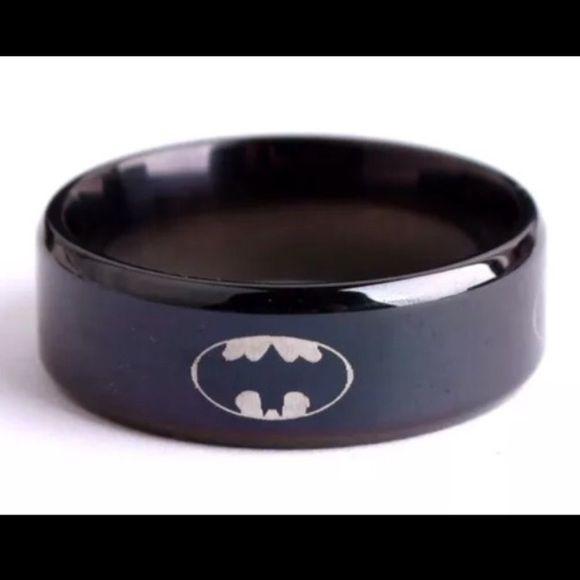 Batman Ring New Sizes Multiple Sizes (Unisex) Batman Ring New Multiple Sizes Available ~Stainless Steel Titanium Batman Jewelry Rings