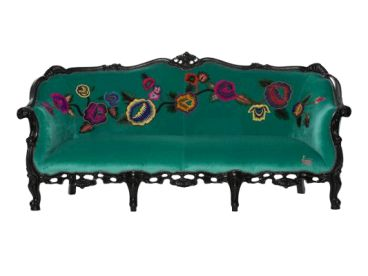 Chinoiserie Sofa...Jade velvet with apliqued hand -embroidered flowers...chinoiserie style..$6650