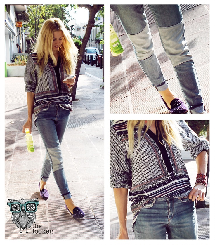 Bohemian Rhapsody  The boho style becomes an everyday outfit with a reversed pair of jeans with patch details.  http://the-looker.blogspot.com/