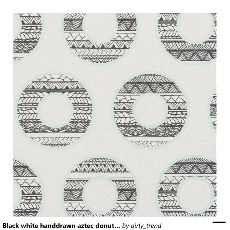 Black white handdrawn aztec donuts pattern mint fabric