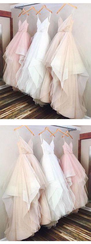 A-line Spaghetti Straps Tulle Prom Drsess/Evening Dress SKY247