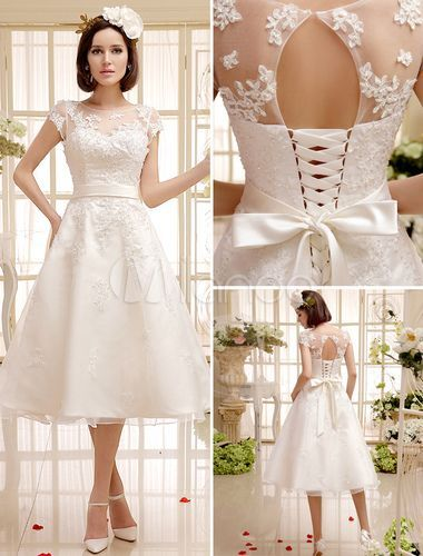 Tee-Length Ivory Wedding Dress For Bride With Jewel Neck Vintage Sash - Milanoo.com