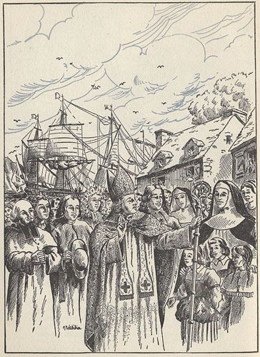 D�barqu� d'un navire, Mgr Laval est accueilli en grande pompe par les habitants et les religieux de Qu�bec. / Just off his ship, Mgr Laval is greeted with much fanfare by the religious and civilian inhabitants of Quebec City.