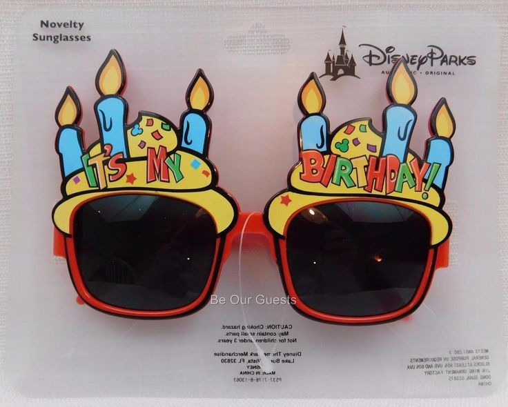 Disney Theme Parks Authentic Happy Birthday Novelty Sunglasses Glasses New #Disney