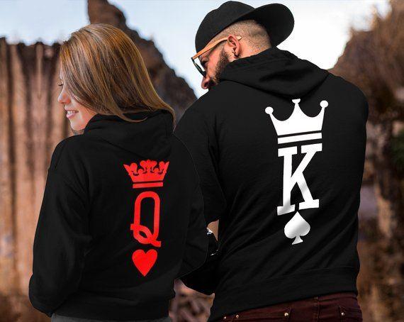 King Queen King Queen Hoodies Couple Hoodies Couple Sweaters Couple Hoodie King Queen Sweatshirts Matching Hoodies Valenine S Day Couples Hoodies Matching Hoodies Matching Couple Outfits