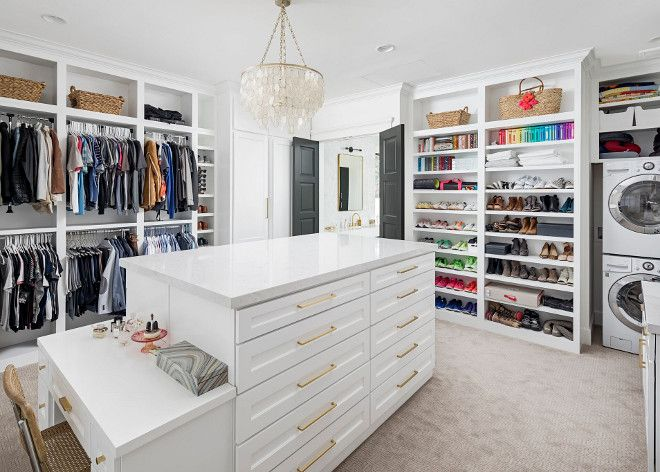 Closet With Laundry Machine This Spacious Walk In Master Bedroom Closets Organization Laundry Room Diy Closet Island