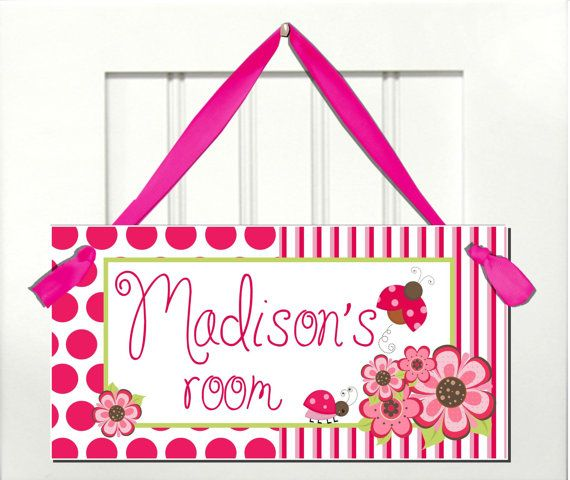 Pink Flowers Ladybug Girls Bedroom DOOR SIGN Baby By Kasefazem, $6.99