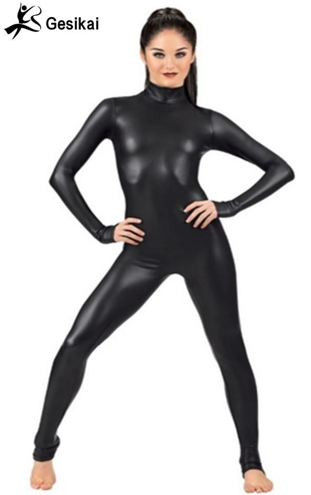 Sexy Women Turtleneck Black Dance Gymnastics Catsuit Shiny Metallic Spandex  Lycra Zentai Bodysuit Catsuit Long Sleeved Tights