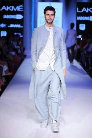 Indo western fusion - Men's Sherwani jacket in ice blue with trouser and white kurta shirt by designer Antar Agni