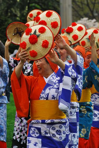 Japanese Flower Hat Dance at Cherry Blossom Festival. Photograph by Arlene NYC on Flickr