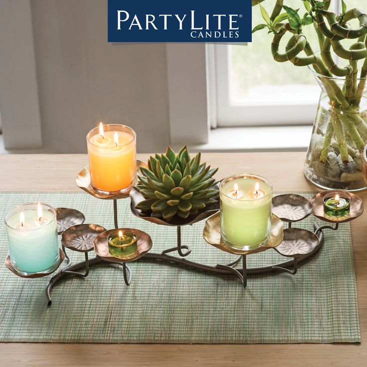 #HomeDecor with PartyLite; mix metals & Petals with this unique centerpiece #AFFORDABLE www.candlelady.biz