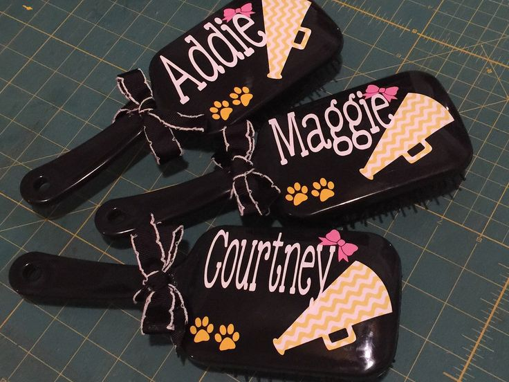 Personalized Cheerleader paddle brush for cheer camp. Cheer gift