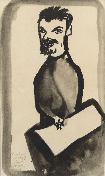 Aad de Haas – Zelfportret, 1954, Gewassen inkt op papier