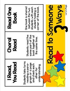 read to someone poster:  3 ways to read....I read/you read, choral reading, read one book.