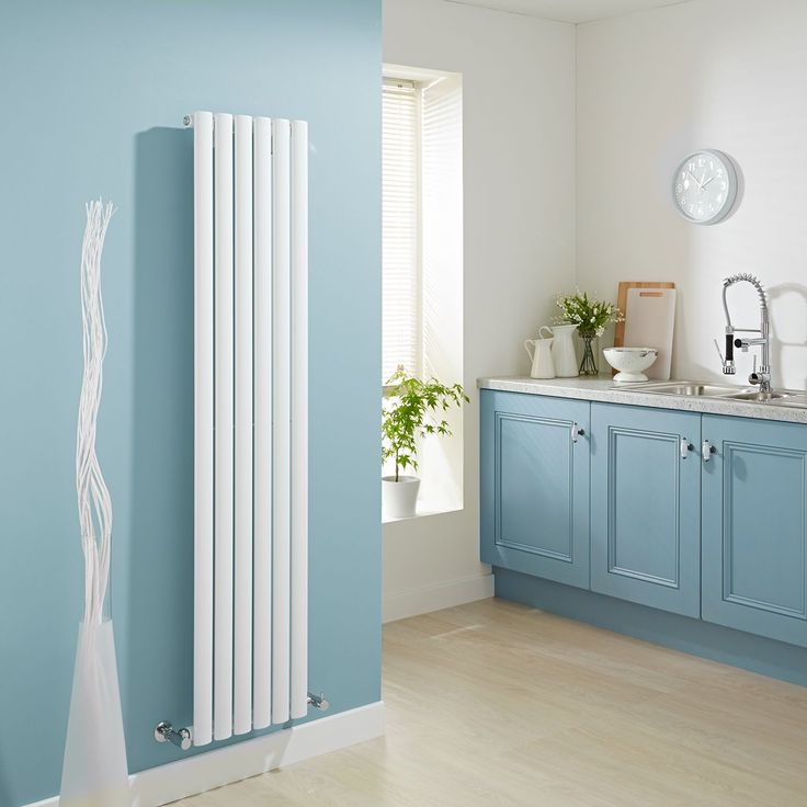 Milano Aruba White Vertical Tall Designer Radiator In Blue Kitchen
